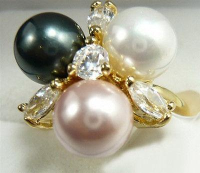 Black White Pink South Sea Shell Pearl Golden Crystal Ring Size: 6.7.8.9