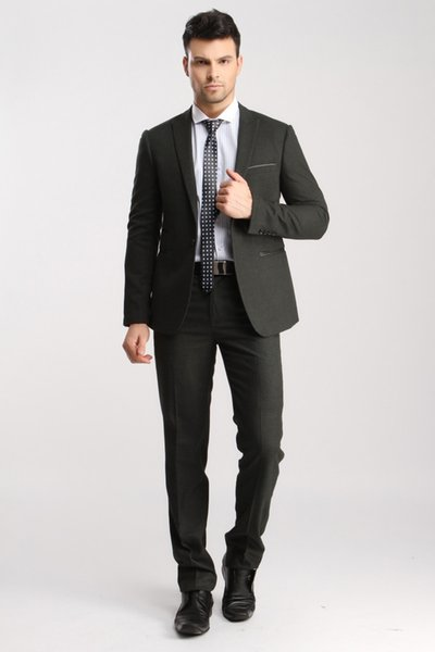 New Style Party Formal Business Suits For Men Popular Latest Coat Pant Designs Dark Grey Slim Fit Men Suits With Pants (Jacket+Pants+Vest)