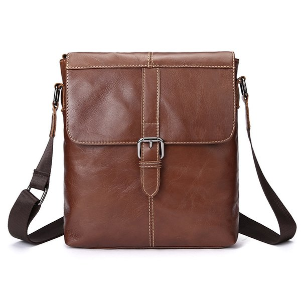 Men's purse Leather men's Messenger bag cowhide leather shoulder bag retro personality vertical casual crossbody