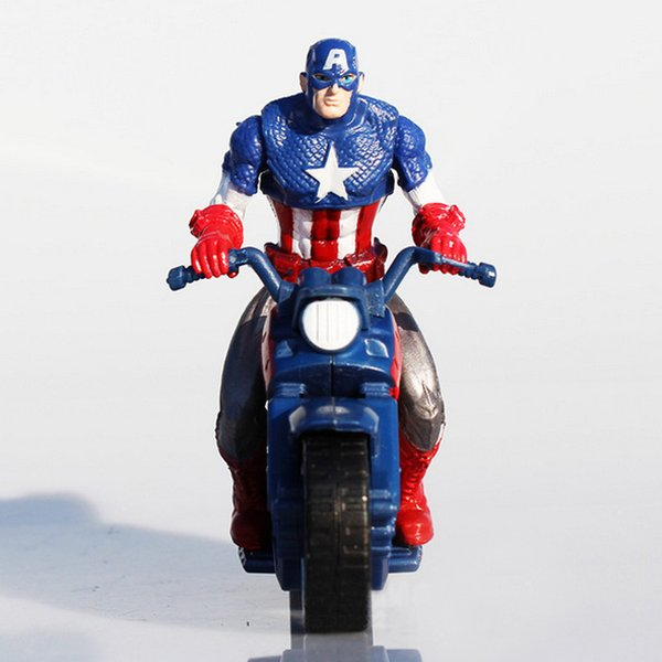 Retail 10CM Marvel Movie Figurine Captain American 3 Motorbike Action Figures Super Hero Cake Topper decorate Cool Boy Doll Toy Gifts T6