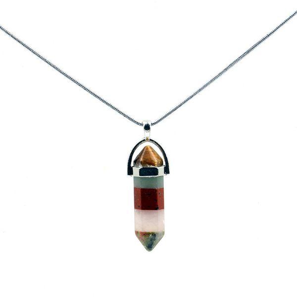 Assorted Fluorite Opal Point Hexagonal Pendant Necklace Pendulum Healing Stone Chakra Crystal Reiki Fashion Jewelry Free Pouch