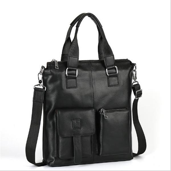 Herrenhandtasche vertikale Stil Business-Dokument Kopf Schicht Rindsleder Portemonnaie der tragbaren Schultasche lässig Leder