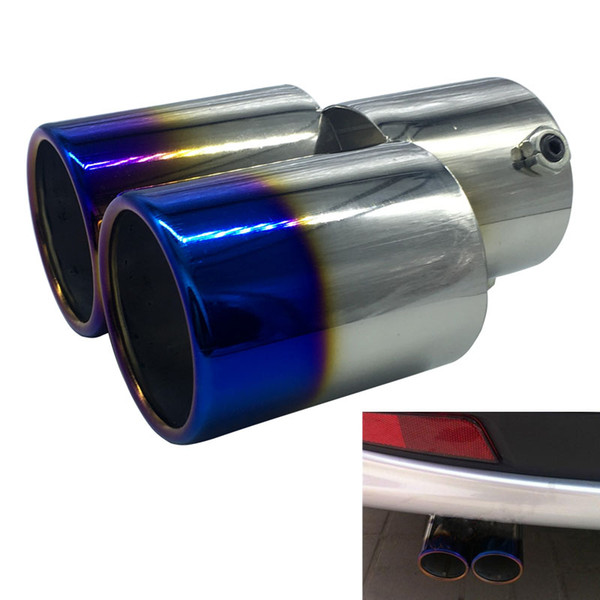 Free Shipping Universal car grilled blue tail pipes stainless steel automobile exhaust pipe modified double muffler turbo simulator