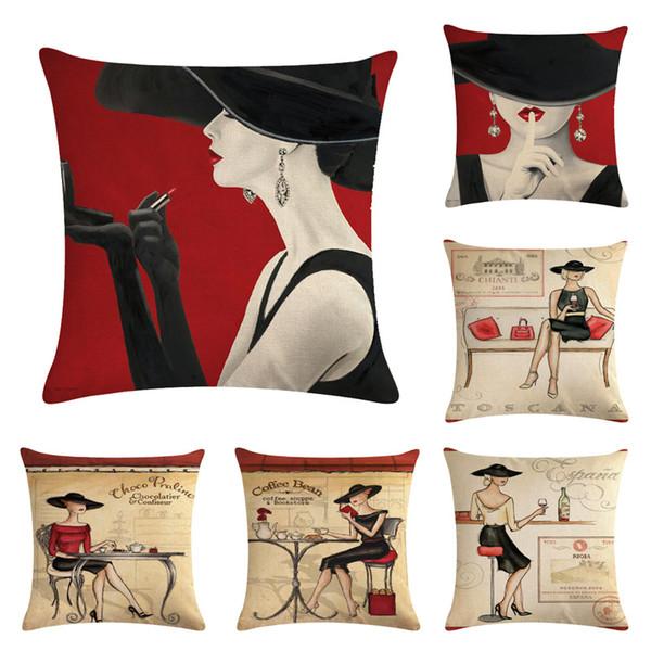 45 cm * 45 cm Noir Chapeau Femmes Linge Taie d'oreiller en coton Canapé Housse de Coussin Carré Housse de Coussin Décoratif Siège de Voiture Coussin