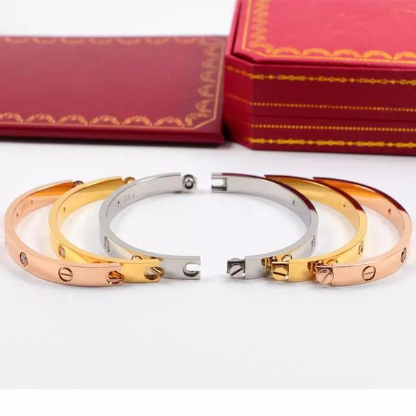 HOT Titanium Steel Love Bracelets silver rose gold Bangles Women Men Screw Screwdriver Bracelet Couple Jewelry with DUST BAG