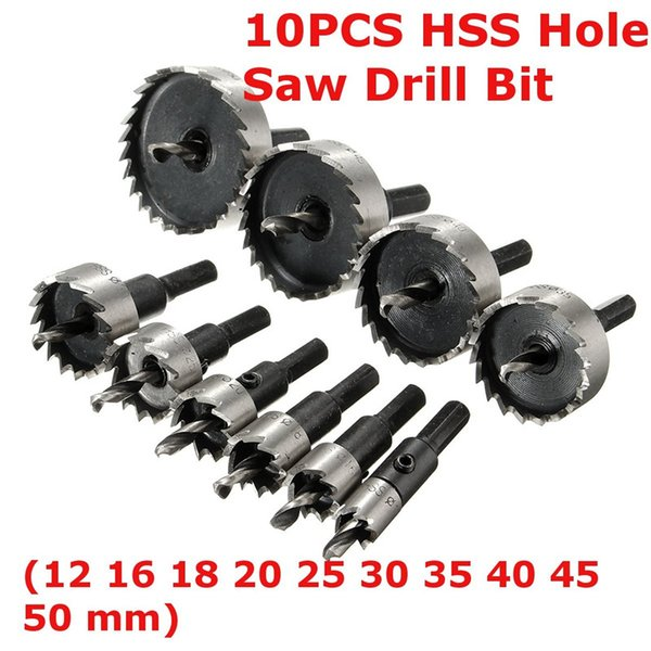 Freeshipping 10Pcs/lot HSS High Speed Steel Hole Saw Tooth Drill Bit Set Metal Wood Alloy Cutter Tool For Thick Steel Plates Cast Iron Wood