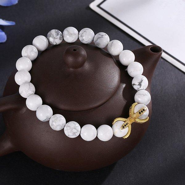 2019 новая мода 8 мм Циркон Коготь браслеты белый бирюзовый Tigereye натуральный камень йога браслеты браслеты для друга подарок