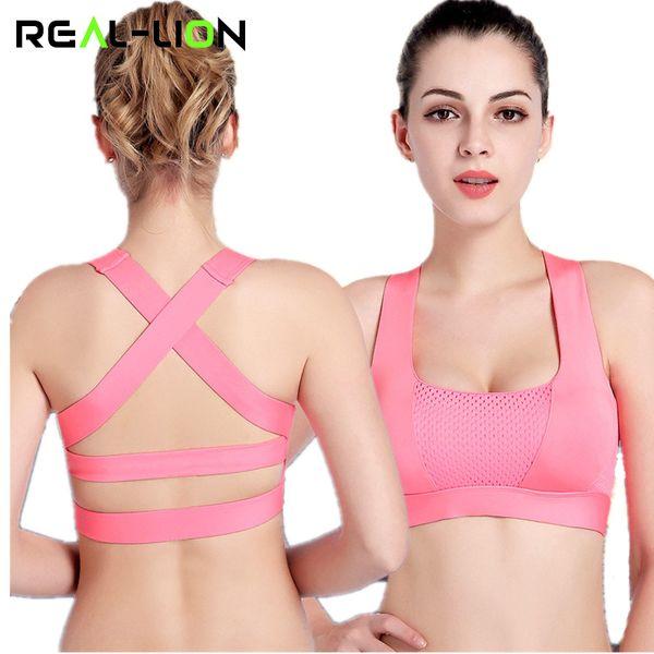 RealLion Women Cross Design Reggiseno sportivo Push Up antiurto Top con imbottitura per la corsa Fitness Fitness Jogging Yoga Shirt