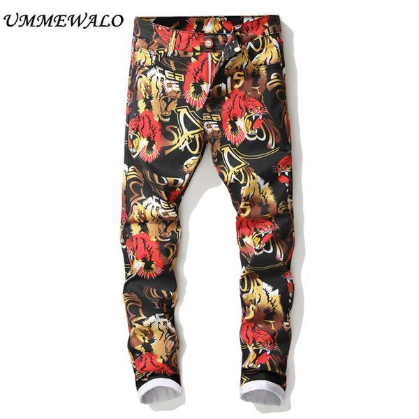 UMMEWALO Printed Jeans Men Fashion Stretch Printing Jeans Mens Designer Slim Fit Straight Jean Male Brand Trousers
