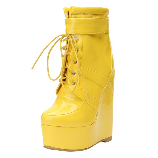 Kolnoo 2019 New Design Women's Wadge Heel Boots Patent Leather Sexy Lace-up Ankle Booties Party Prom Winter Fashion Boots Shoes N033