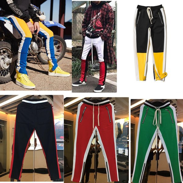 2018 New blue Colour Fear Of God Fifth Collection FOG Justin Bieber side zipper casual sweatpants men hiphop jogger pants Free Shipping!