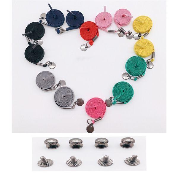 Boy Girl Fashion Shoelace Buckle Colour Looser With Metal Circle Decor No Tie Quick Sneaker Shoe Laces Elastic Force 6 2hm jj