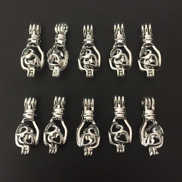 Tono de plata Hollow Heart Lucky Bag Locket perla del grano de la jaula colgantes de aceite esencial difusor para el collar joyería de DIY