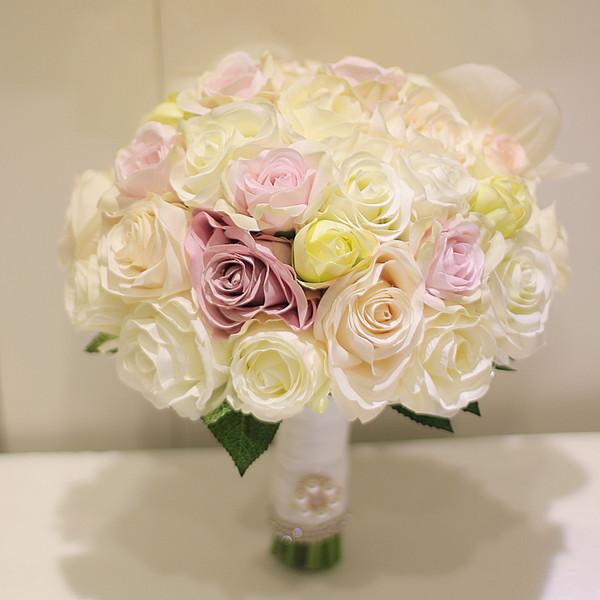 Acheter Personnalisez Le Bouquet De Mariee Tenant Une Orchidee Papillon Blanche Jaune Orange Rose Avec Des Couleurs De 52 27 Du Golden Phoenix