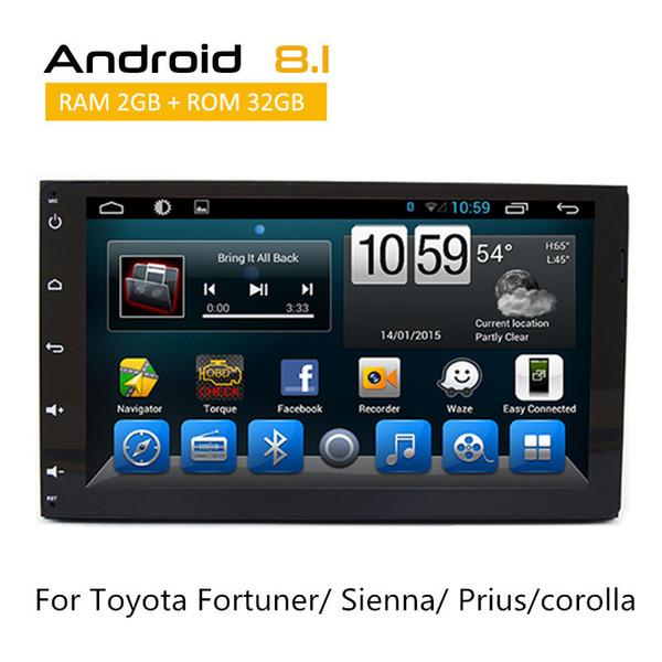 2 Din Android 8.1 Car dvd Estéreo Para Toyota Sienna Auris Prius Corolla 2015 2016 com AUX Bluetooth SWC 3G RDS