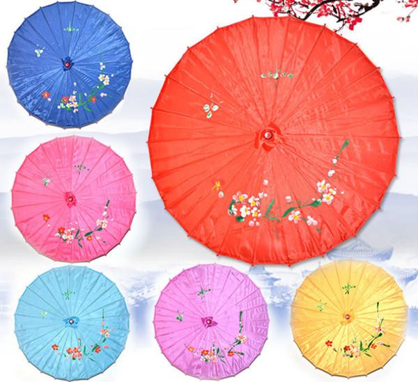 Craft Umbrellas Hand-painted Flowers Wedding Chinese Umbrella Silk Cloth Parasol for Wedding party