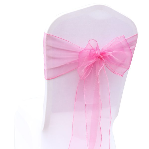 18*275CM Organza Pink Wed Chair Sashes Spandex Chair Covers Sash Bows for Party Banquet Event Christmas Chair Cover Decoration 18 Colors