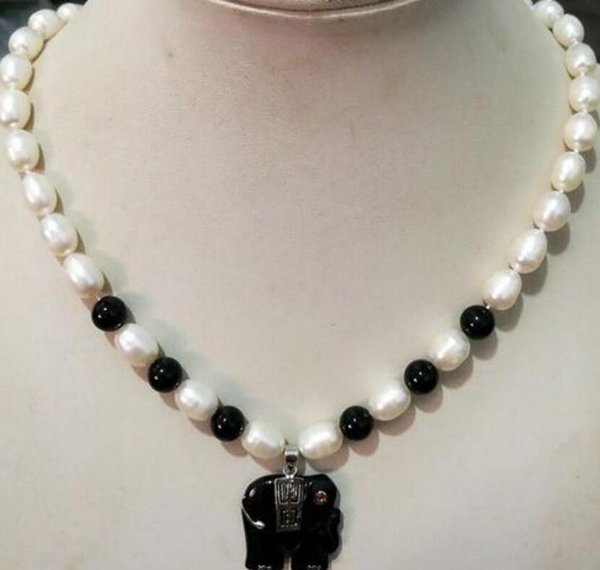 Natural 7-8MM Akoy Pearl Black Black Elephant necklace pendant