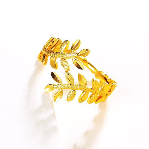 MGFam (262R) 24k Pure Gold Plated Olive branch Rings ( Openning ) For Women Personal Jewelry For Party