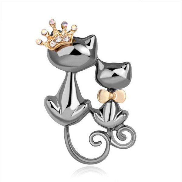 Cat Brooches Pins Hot Sale Silver Crystal Rhinestone Double Cats Pin Brooche for Women Girl Party Gift Fashion Jewelry Wholesale 0749WH