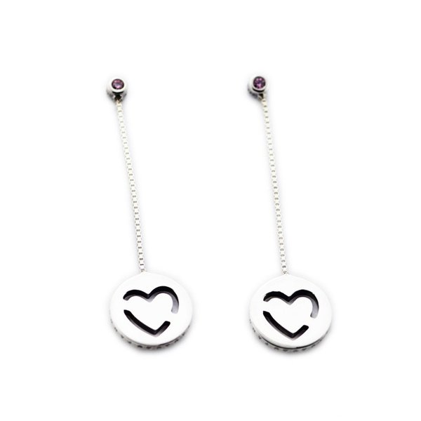 41cc15417 Compatible with Pandora jewelry 925 Sterling Silver Pure Love Dangle Earrings  Earrings For Women Original Fashion
