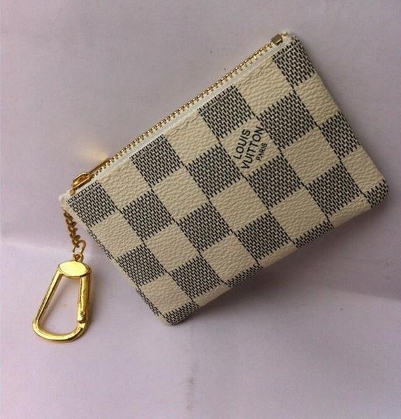 4 colores KEY POUCH Damier de cuero tiene alta calidad famoso diseñador clásico mujeres titular de la moneda monedero pequeño cuero Key Wallets + BOX