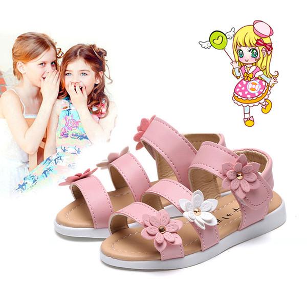 2018 Summer Style Enfants Sandales Filles Princesse Belle Fleur Chaussures Enfants Sandales Plates Bébé Filles Roman Chaussures