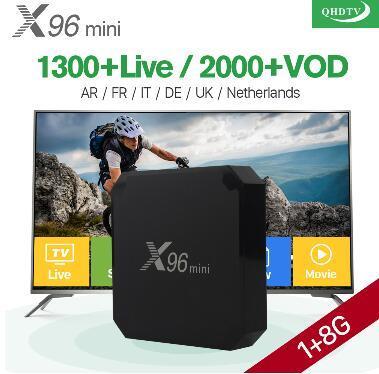 1 год X96 mini Android 7.1 Smart IP TV Box 4K Quad Core 1 год Подписка на QHDTV Европа Каналы X96mini Французский Арабский IPTV Box