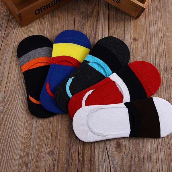 1 Pair Socks Men Invisible Striped Cotton Socks Male Summer Comfortable Breathable Creative Stripe Fashion Casual Short