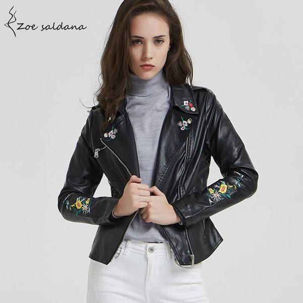 wholesale 2018 Women Turn-down Collar Faux Leather Embroidery Jacket Long Sleeve Moto Biker Slim Coat