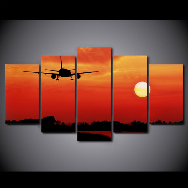 HD Printed 5 Piece Airplane in Red Sunset Canvas Painting Wall Pictures for Living Room Home Decor Free Shipping CU-2999C