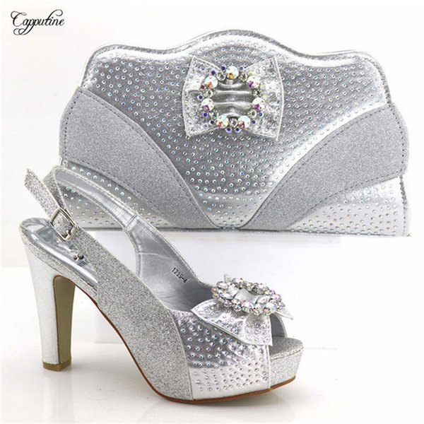 Amazing silver with nice rhinestones lady high heel pump shoes and bag set 1719-4 many color