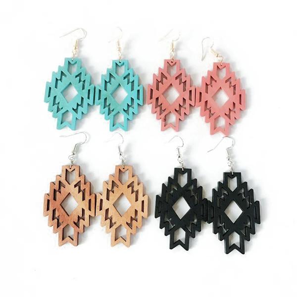 Nouvelle conception bois géométrique filigrane boucle d'oreille, vente en gros de nouveaux bijoux de mode vente chaude mignon pour les femmes