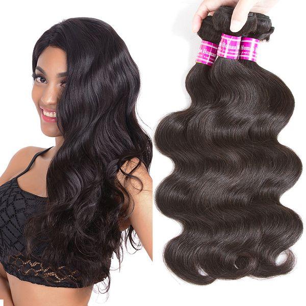 Capelli umani brasiliani dell'onda del corpo dell'onda del corpo di grado 10a 3/4 dei pacchi Non trattate estensioni diritte brasiliane dei capelli del tessuto dei capelli umani di affari