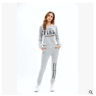 European and American 2017 hot selling women's autumn hot sale letter pink printing fashion casual ladies' sports suit