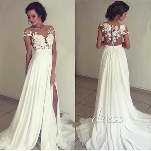 Chiffon Beach Wedding Dresses With Side Slit See Through Lace Applique Sheer Neck A Line Boho Bridal Gowns Custom Made robes de mariée