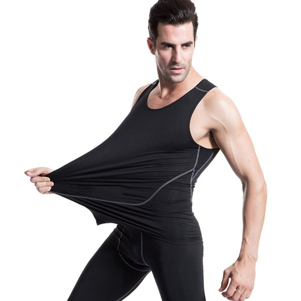 Men Running High Elastic Quickly Dry Sports Tank Top Training Sleeveless Tights T Shirt Men Workout Fitness Gym Running Vest