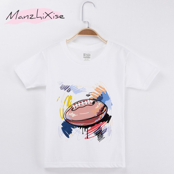2018 Children Clothing Kids T-shirt Football Art Design 100% Cotton Boy Short T Shirts Girl Tops Baby Child Shirt Free Shipping