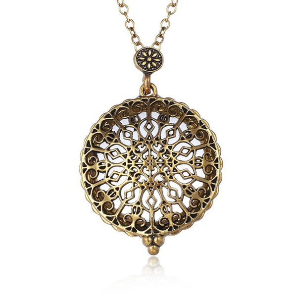 Vintage Magnifying Glass Pendant Necklace for Women Hollow Locket Pendant Personality Necklace Vintage Palace Pattern Jewelry Free DHL D551S