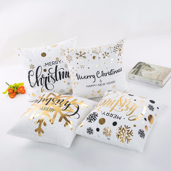 wholesale High Quality Abstract Painting Merry Christmas Happy New Year Cushion Cover home Throw Pillow Case Chair Seat covers