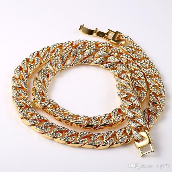 2018 Statement Fashion Chain Necklace Set Fully Iced Out Hip Hop Miami Cuban Chain & Bracelet Gold Bling Iced Out Jewelry Gift