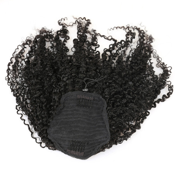 3B 3C Kinky Curly Clip In Ponytail Human Hair Extensions Brazilian Hair Products Pony Tail Natural Color Remy 120g 4colors