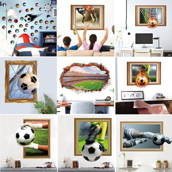 Soccer Field Wall Sticker Living Room Cartoon Football World Cup 3D Art Poster House Decorative Sofa Kids Nursery Background Wall Decal