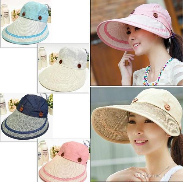 Women Wide Large Brim Floppy Summer Beach Sun Hat Straw Hat Button Cap Summer Hats For Women Anti-uv Visor Cap Female MO53