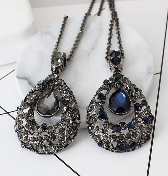 Vintage Rhinstone Crystal Gems Long Sweater Chain Necklaces & Pendants Statement Fashion Jewelry for Women Collier femme 5N705