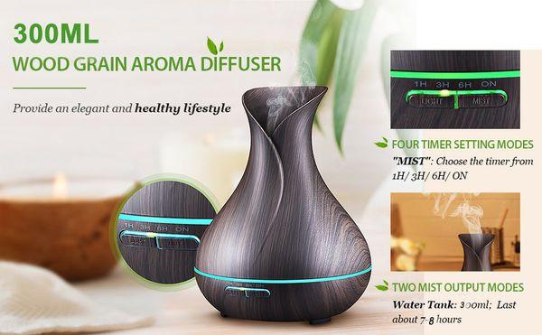 300ml Aromatherapie Ätherisches Öl Diffusor, Ultraschall-Luftbefeuchter mit Holzmaserung Design für Büro, Zimmer, Spa