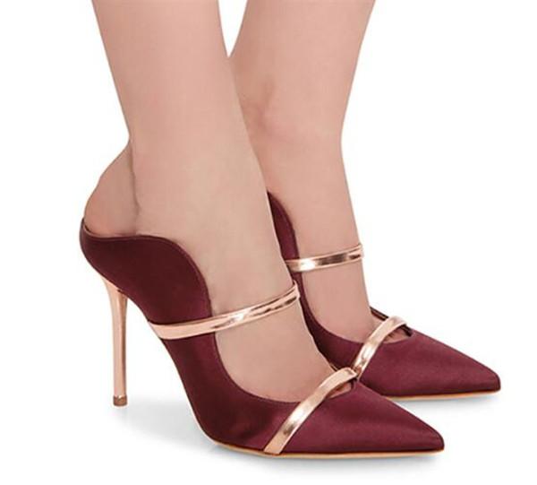 Sommer Neue Mode Frauen Spitzschuh Slip-on Stiletto Pumps Satin Mode Keine Ferse Hausschuhe Formale High Heels Kleid Schuhe