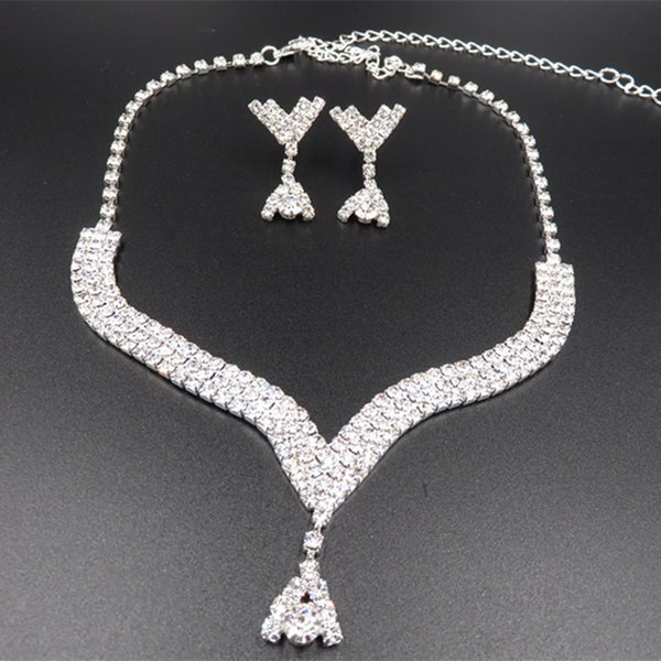 YT006 Necklace Set Fashion Alloy Wedding Jewelry Necklace Rhinestone Jewelry Set Crystal Bridal Jewelry Sets for Brides