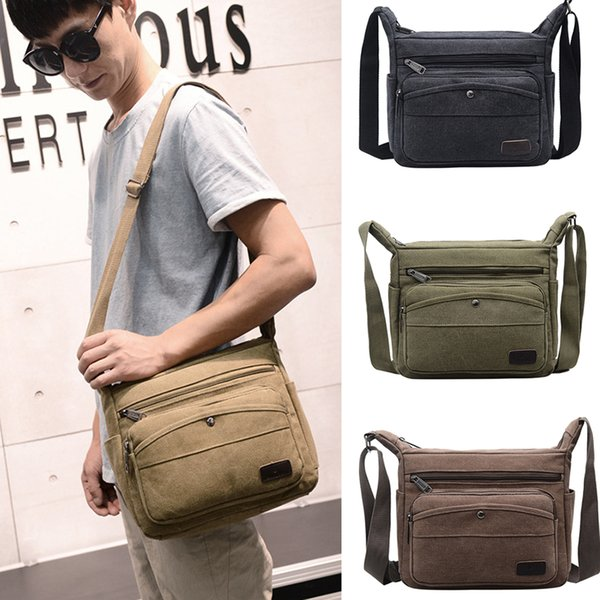 SFG HOUSE Fashion Mens Canvas Bags Canvas Travel Shoulder Messenger Bag Handbag Satchel Laptop Bag School Black High Quality