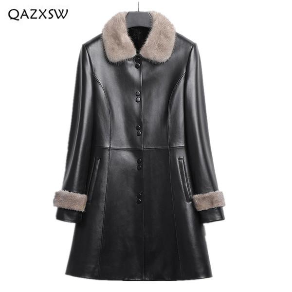 QAZXSW Echtes Leder Mantel Frauen Kleidung 2018 Lange Schaffell Mäntel Neue Nerz Liner Pelz Eine Daunenjacke Taste Oberbekleidung LD103